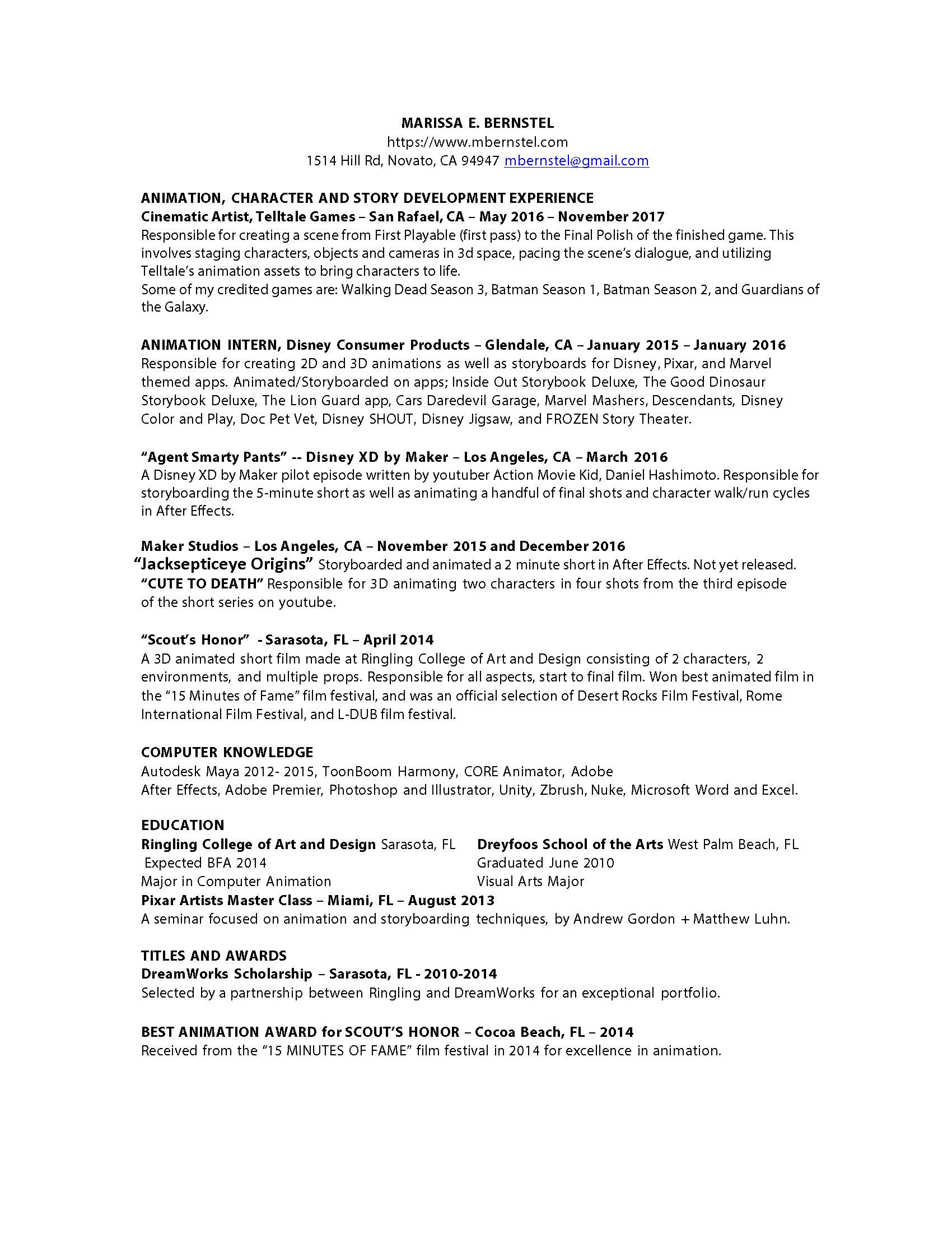 Marissa Bernstel S Resume